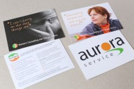 Promotional postcards for women's charity